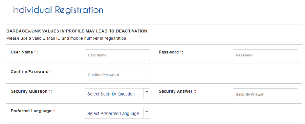 IRCTC Individual Registration Form